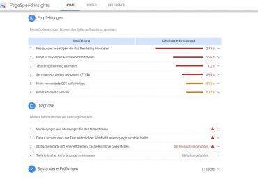 Google-Pagespeed-Verbesserungsvorchlaege