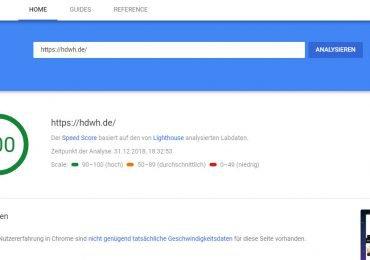 Google PageSpeed Test Bewertung einer Webseite