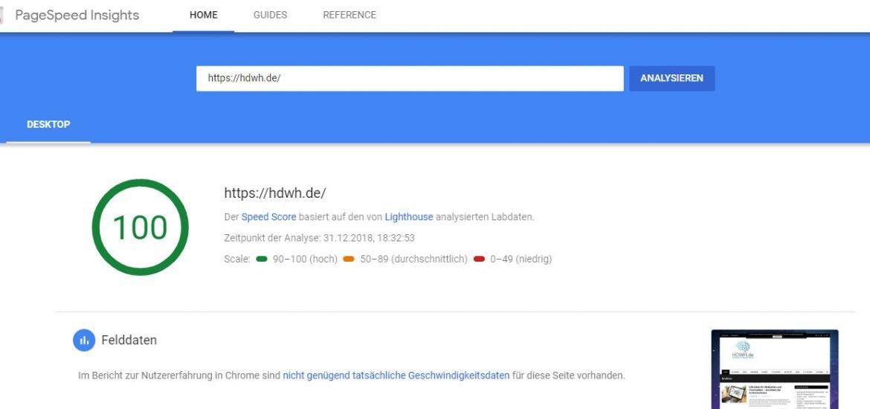 Google PageSpeed Insights zeigt Test von hdwh.de