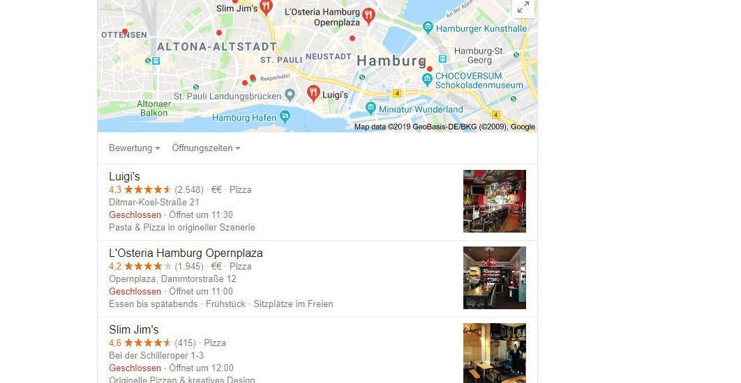 Die gleiche Anfrage an Google: Pizza Hamburg