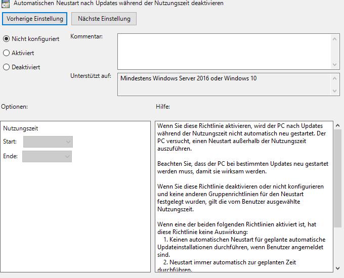 Windows 10: Automatische Neustarts deaktivieren