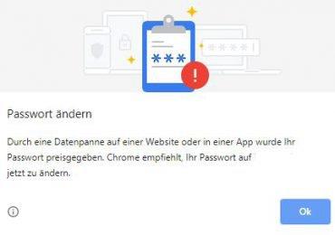 Google Chrome-Benachrichtigung – Chrome empfehlt Ihr Passwort zu ändern