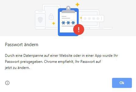 Google Chrome-Benachrichtigung - Chrome empfiehlt Ihr Passwort zu ändern