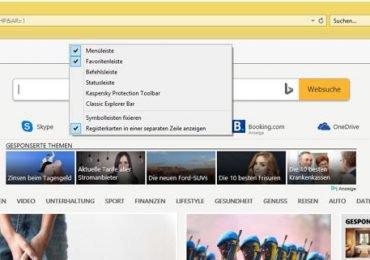 Microsoft Edge oder Internet Explorer 11 Favoritenleiste dauerhaft anzeigen