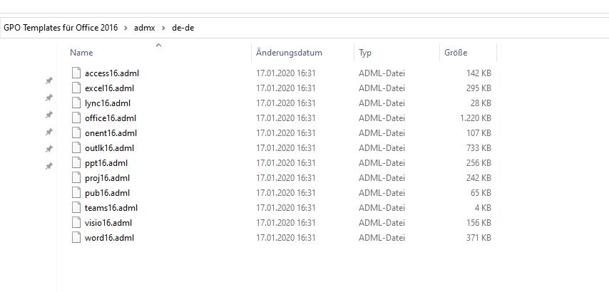 Nach dem Entpacken -  Ordnerinhalt DE admx deutsch