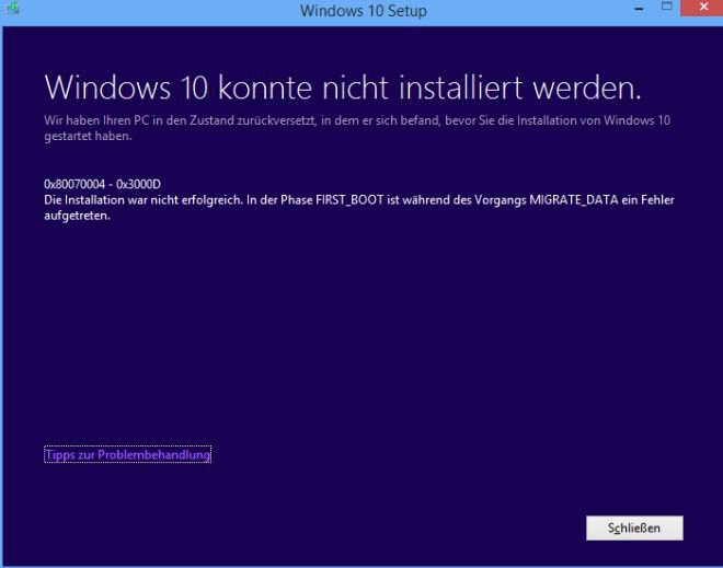 Update von Windows 8.1 Pro zu Windows 10 Pro  fehlgeschlagen Fehlercode 0x8007042B – 0x3000D