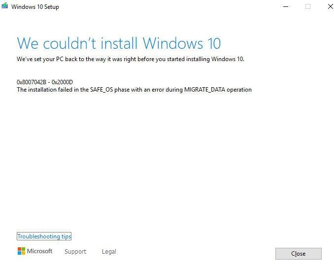 Windows 10 Fehler  0x8007042B-0x2000D