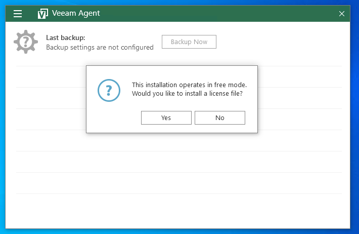 Lizenzabfrage Veeam Agent for Windows Free