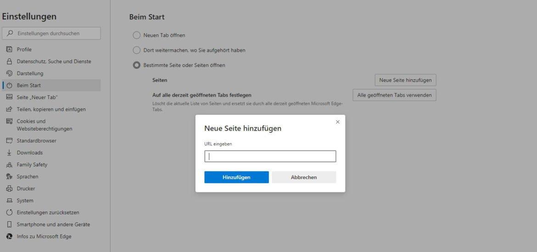 Microsoft Edge:  beim Start gleich bestimmte Webseiten lade