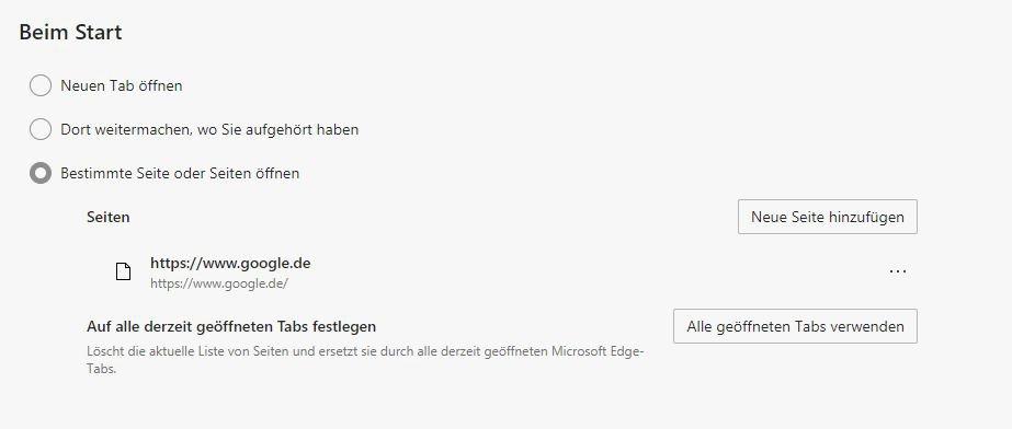 Google.de als Seite, die beim Microsoft Edge Start geöffnet wird