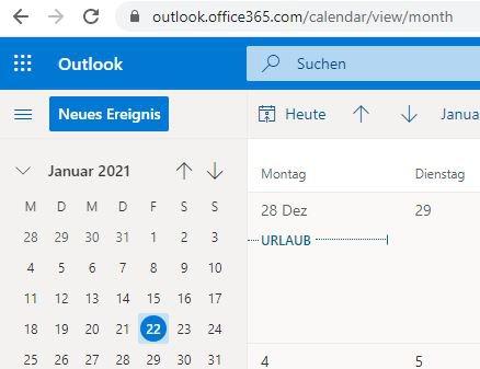 Abwesenheitsnotiz Outlook 2021