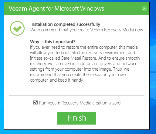 Veeam Agent for Microsoft FREE Recovery Media creation Assistent