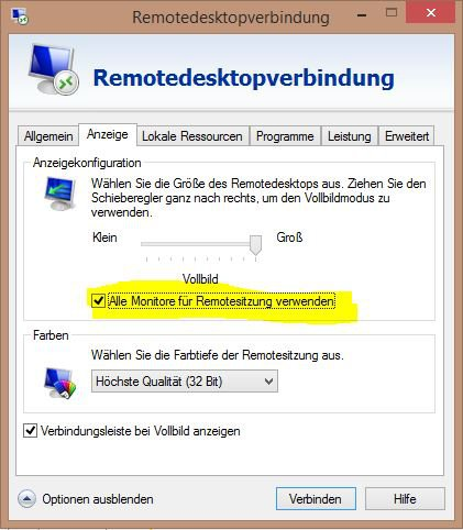 Windows 10: Remote Desktop zwei Monitore