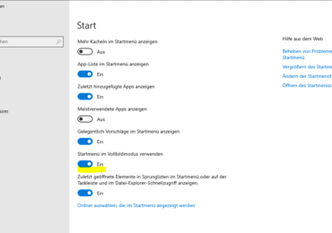 Windows 10: Startmenü in Windows 10 als Vollbild