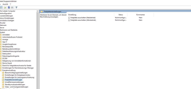 Windows 10: Festplatte ausschalten per GPO